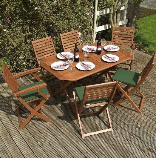 Garden Dining Set 6 Seater Table Chairs Folding Cushions Parasol Hole Wooden