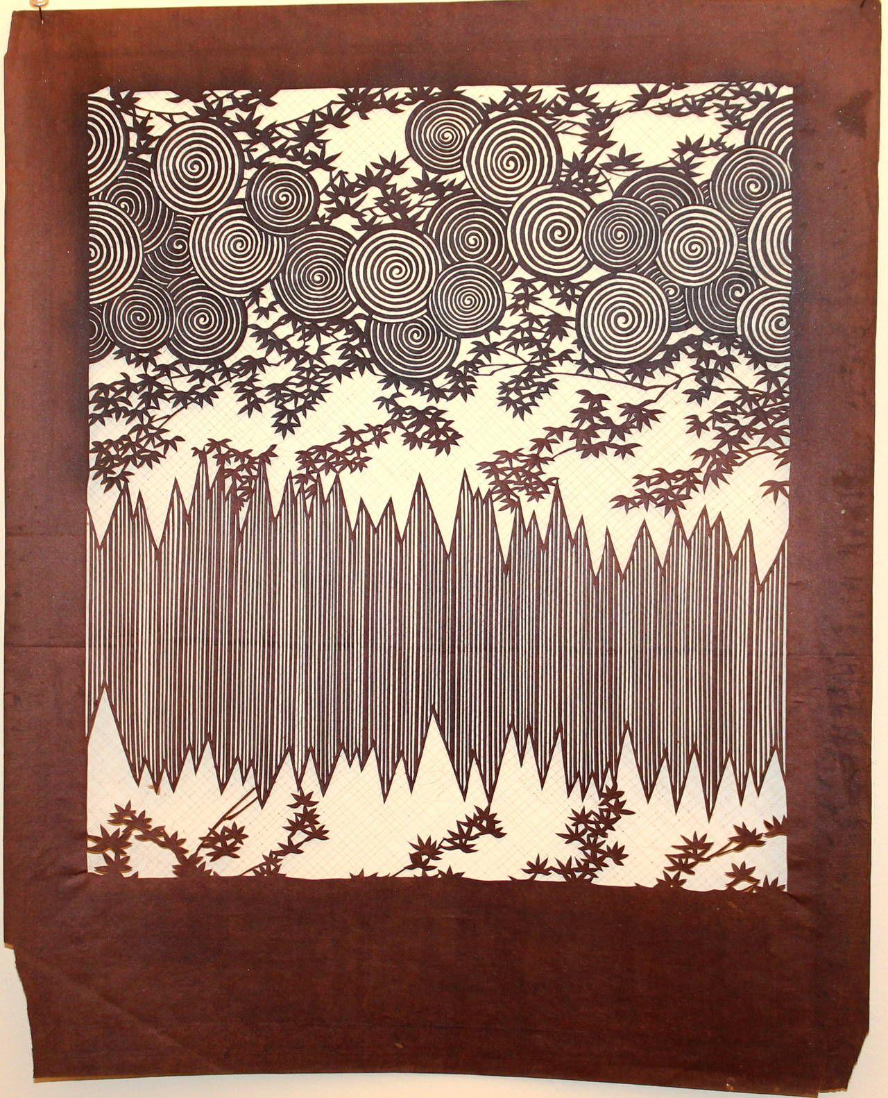 83e501104 Antique Japanese Kimono Fabric Stencil Wood Block Print Katagami ...