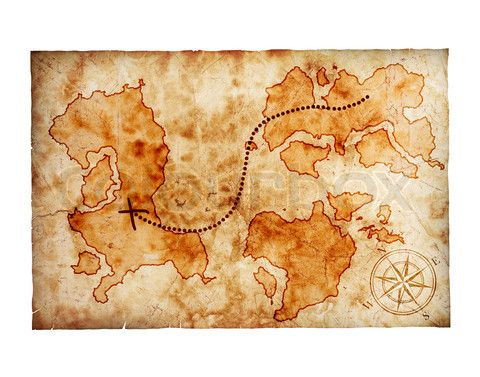 Stock Image Of Old Treasure Map On White Background A