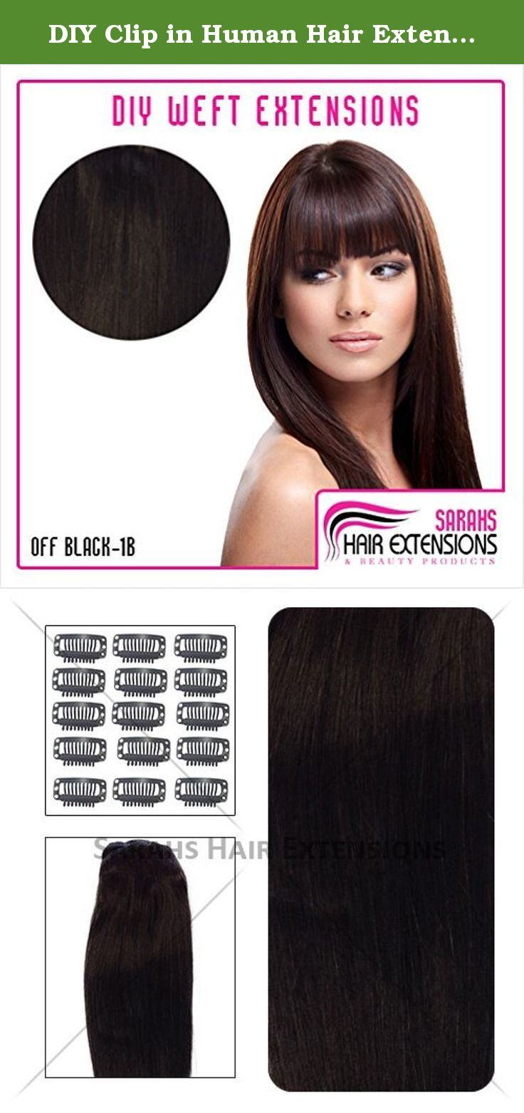 Diy Clip In Human Hair Extensions 1b Off Black Hair Weft And Clips