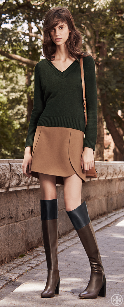 The over-the-knee heeled boot looks great with mini-skirts and dresses #torybootcamp