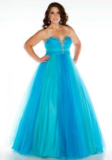 Sweetheart Beading Chiffon Tulle Lace Up Blue Plus Size Prom