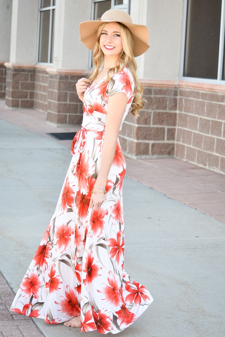 796daa50f6 Red floral Maxi Dress - My Sisters Closet   Modest Dresses to Wear ...