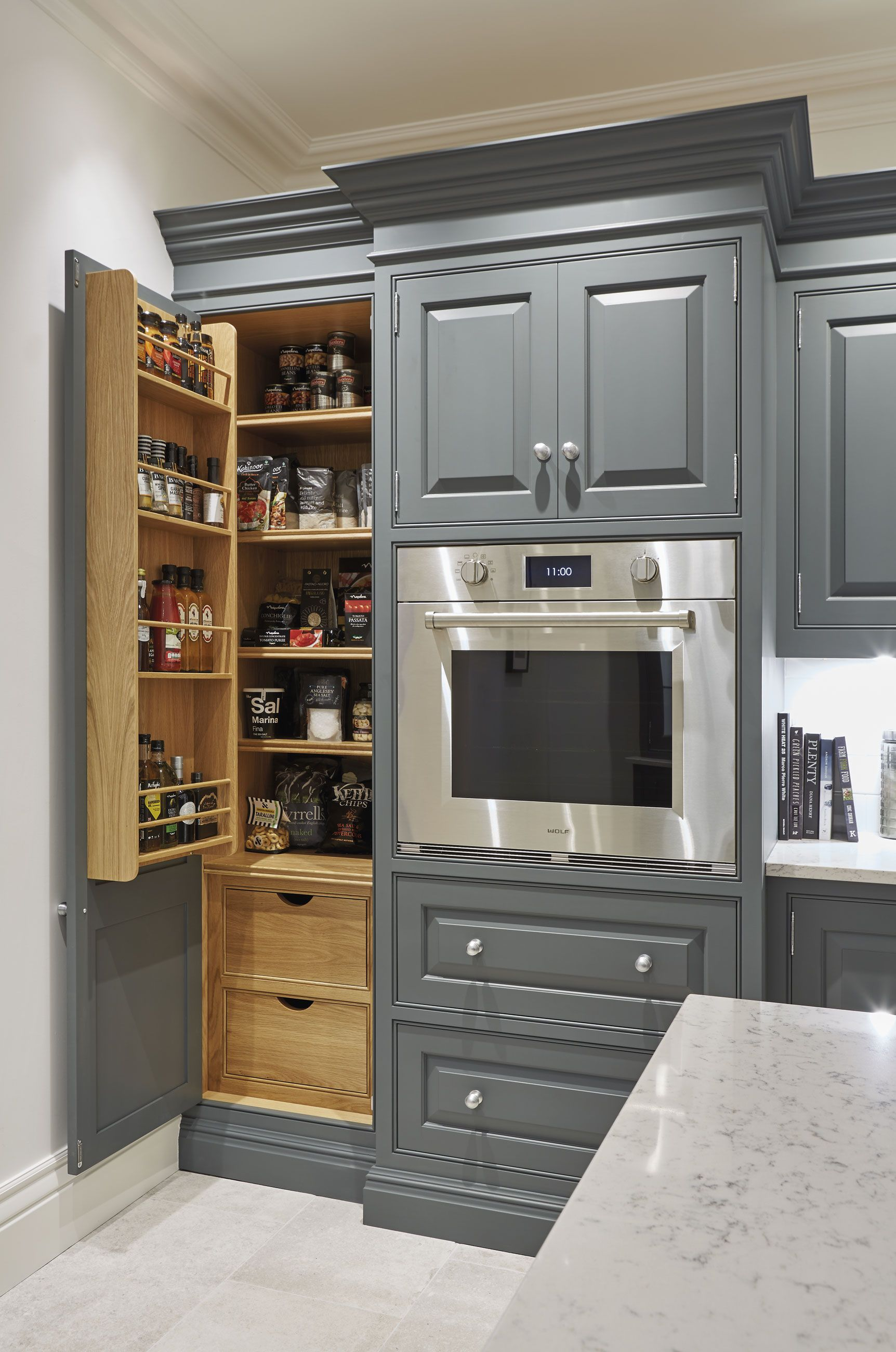 Spotlight On Pantries Grey Painted Kitchen Luxury Kitchen Design Kitchen Cabinet Design