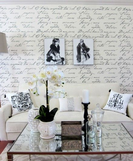 A DIY Stenciled Accent Wall In French Glam Living Room Using The Poem Allover