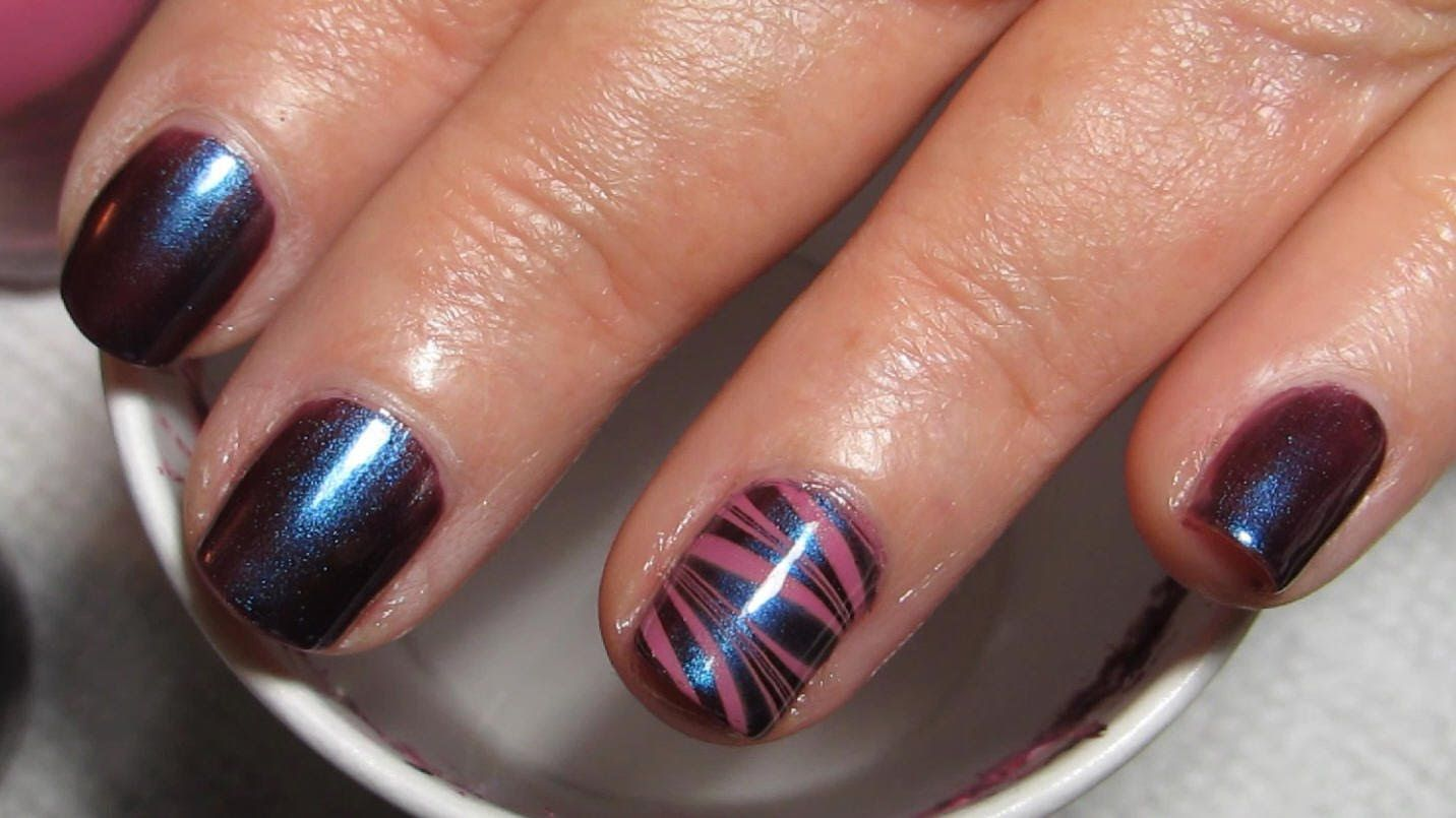 Mom\'s (Short Nails) Water Marble Accent Nail Art Tutorial (Water ...