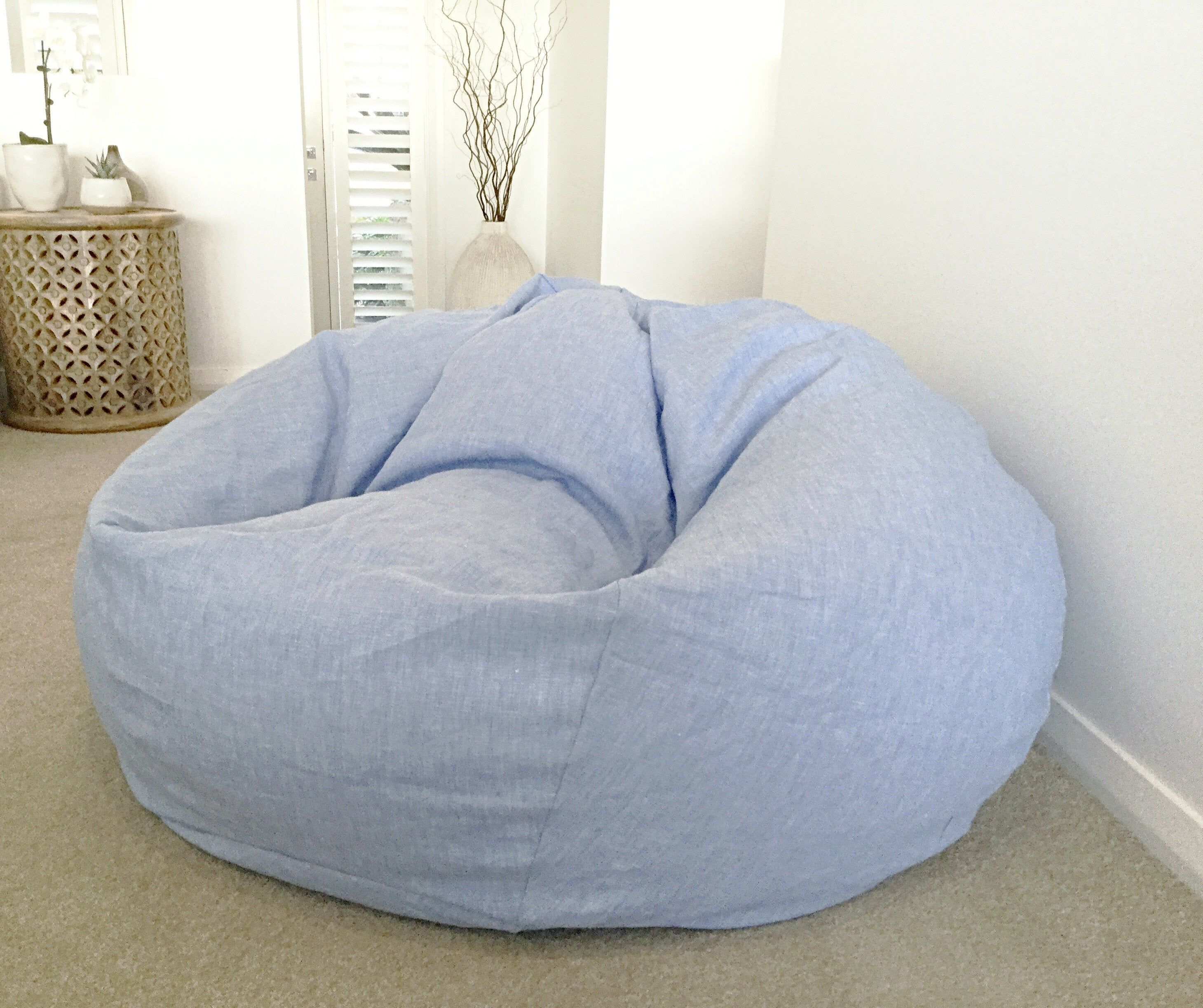 Bean Bag Linen Bean Bag Cover Only Chambray Linen Seafoam Etsy In 2020 Black And White Cushions Portable Shade White Cushion Covers