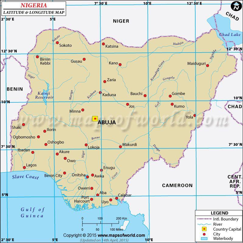 Nigeria Latitude And Longitude Map With Images Latitude And