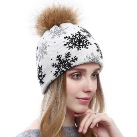... Fur pom pom for women winter rhinestones stocking caps.  https   www.buyhathats.com snowflake-knitted-bobble- 880f13f59731