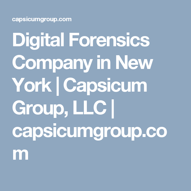 Digital Forensics Company In New York Capsicum Group Llc Capsicumgroup Com Forensics Security Companies Cyber Security