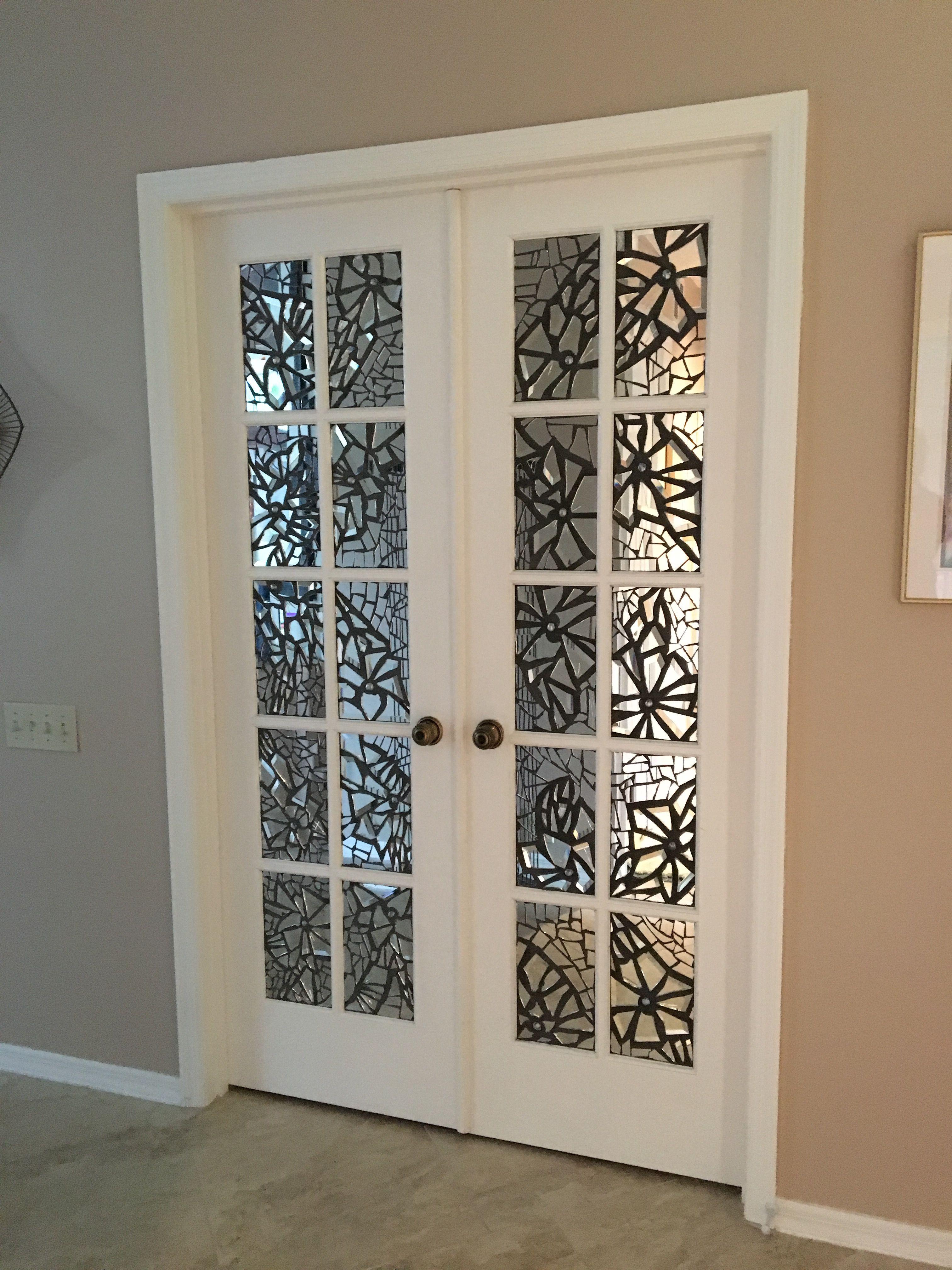 Broken mirror mosaic on french doors mirror decor