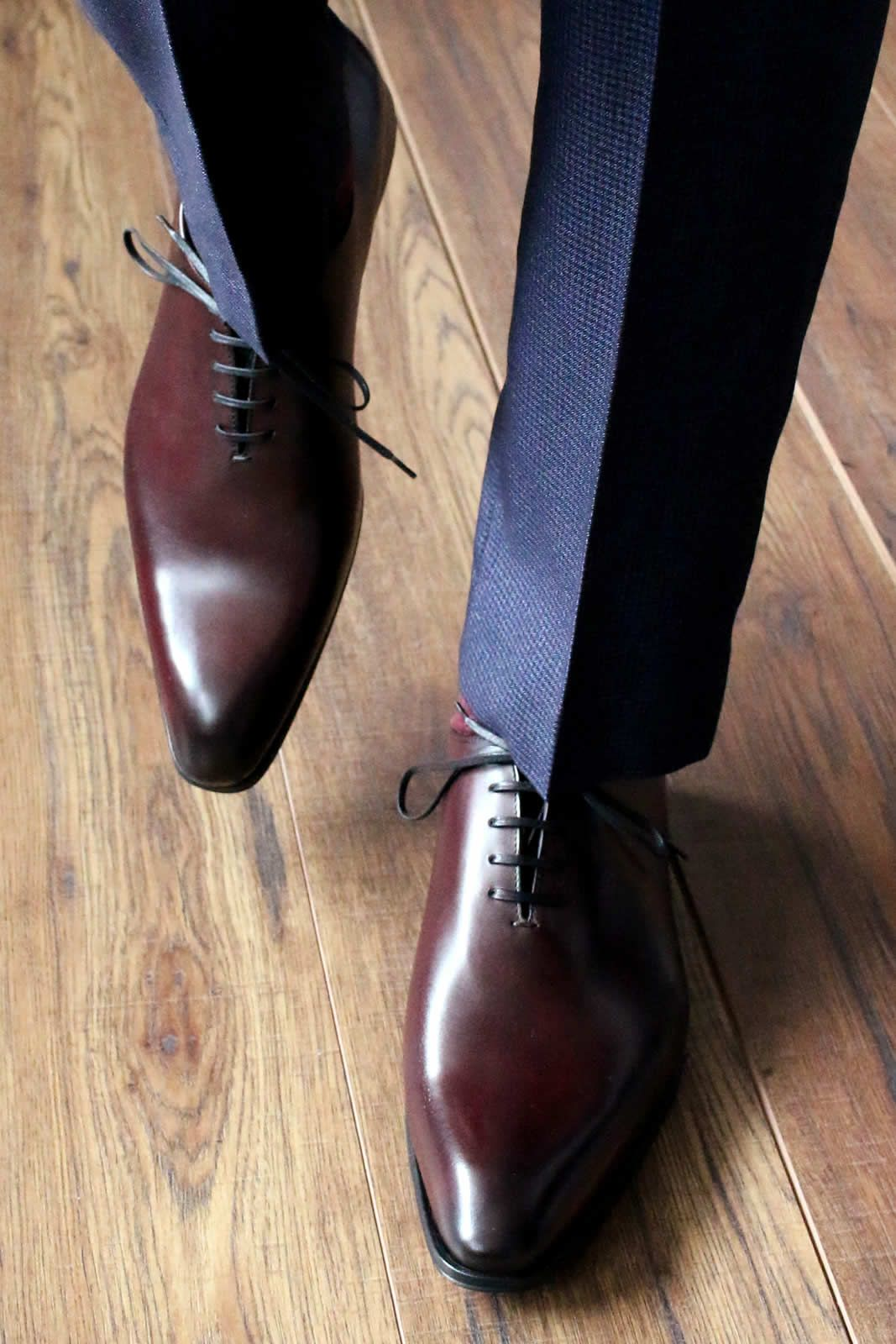 Oxblood wholecuts with blue suit  Italian made wholecut oxfords pair so well with a blue or navy suit  Click for more photos  is part of Oxblood shoes men -