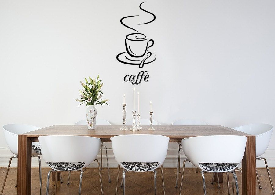 Caffe Vinyl Wall Decal With Modern White Floral Chairs And Wooden Dining  Table