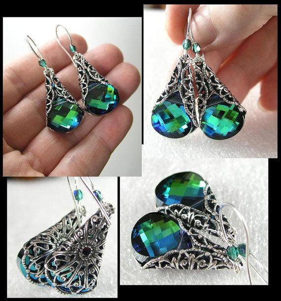 Aqua Emerald Green Earrings Sterling Silver by DorotaJewelry, $38.00