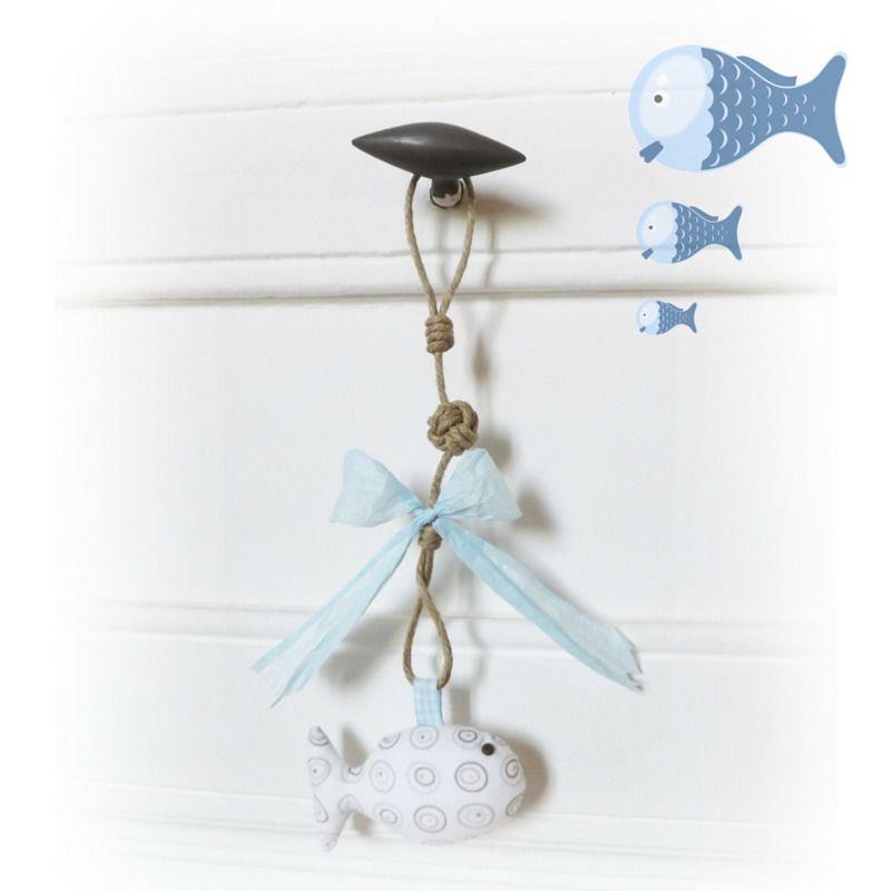 D coration poign e de porte commode poisson tissu for Decoration de porte en tissu