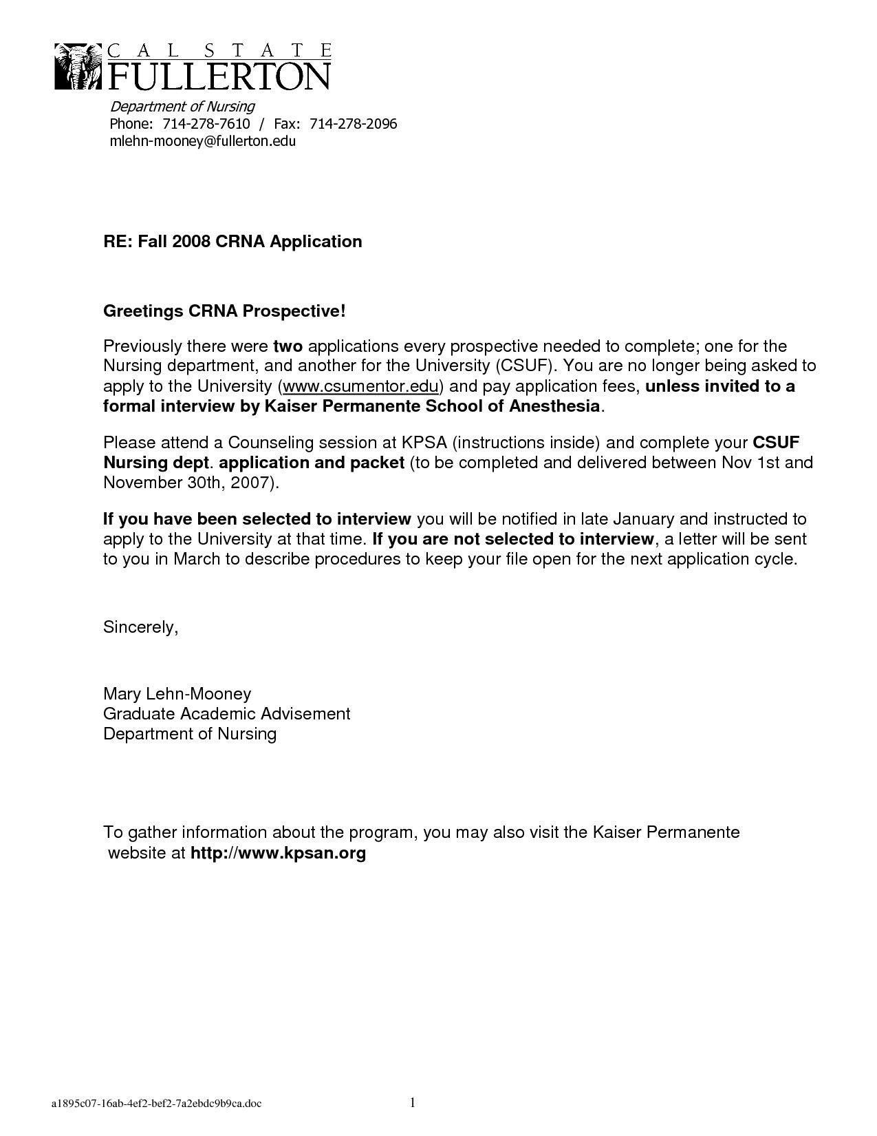 New Sample Of Letter Of for Job Nursing