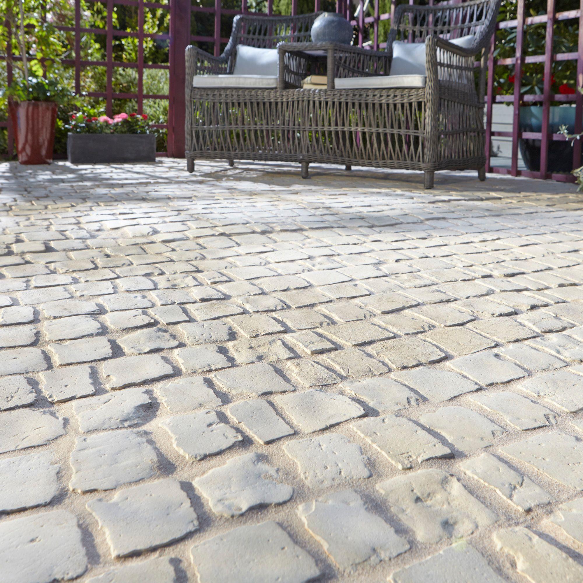 buff carpet stones cobble mat straight of 1 (l)600mm (w)400mm