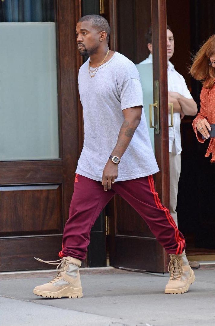 88d7f7711b30e Kanye West Wears Adidas Yeezy Season 4 Calabasas Sweatpants   Yeezy  Military Boots