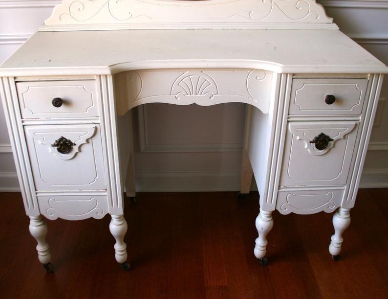 1930s vanity desk and mirror antique white cream