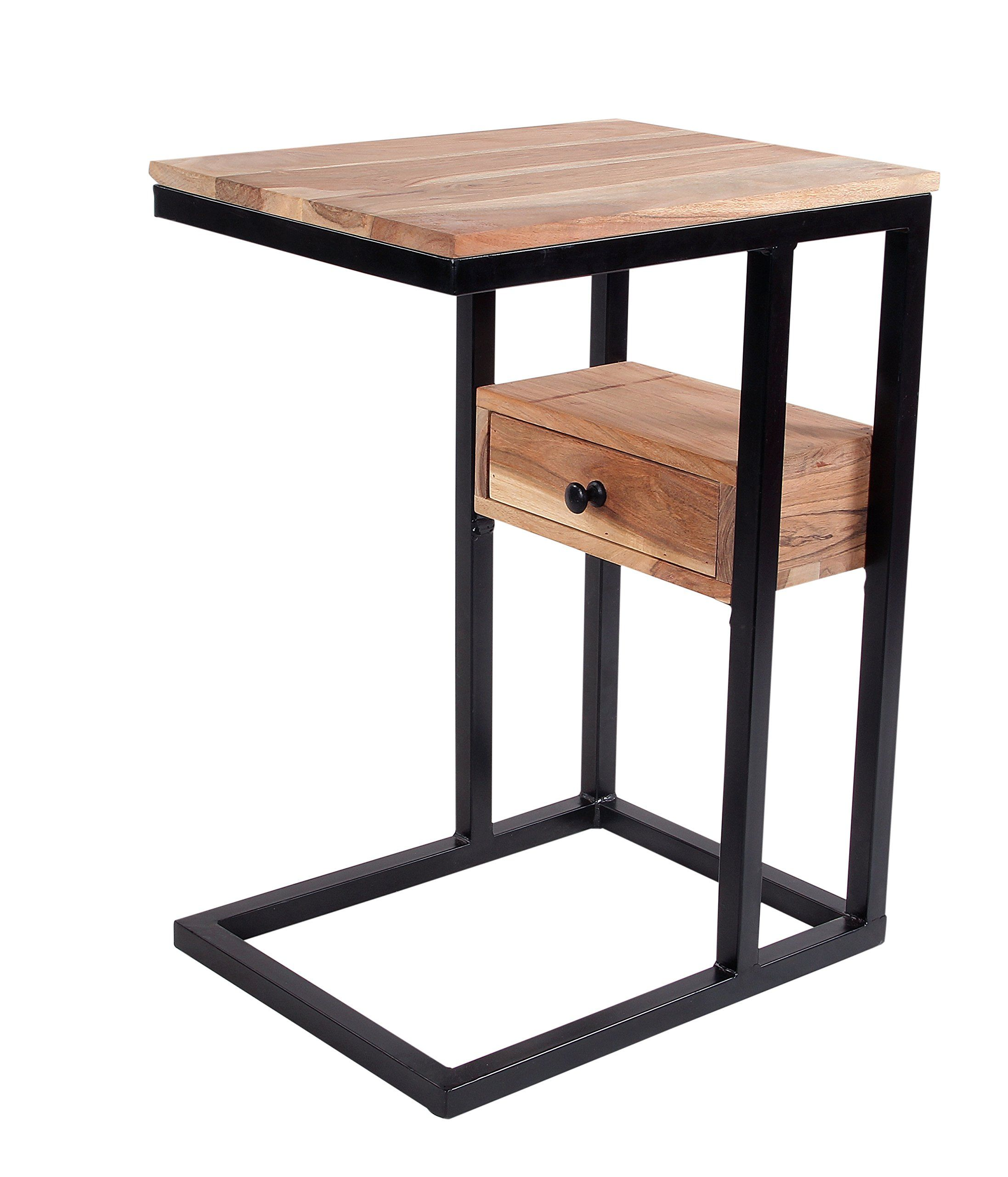 Intradeglobal Sofa Side Acacia Wood End Table With Drawer C Table