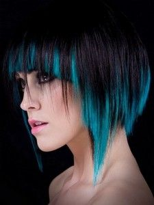 Black And Cyan Blue Brown Hair Blonde With Highlights Short
