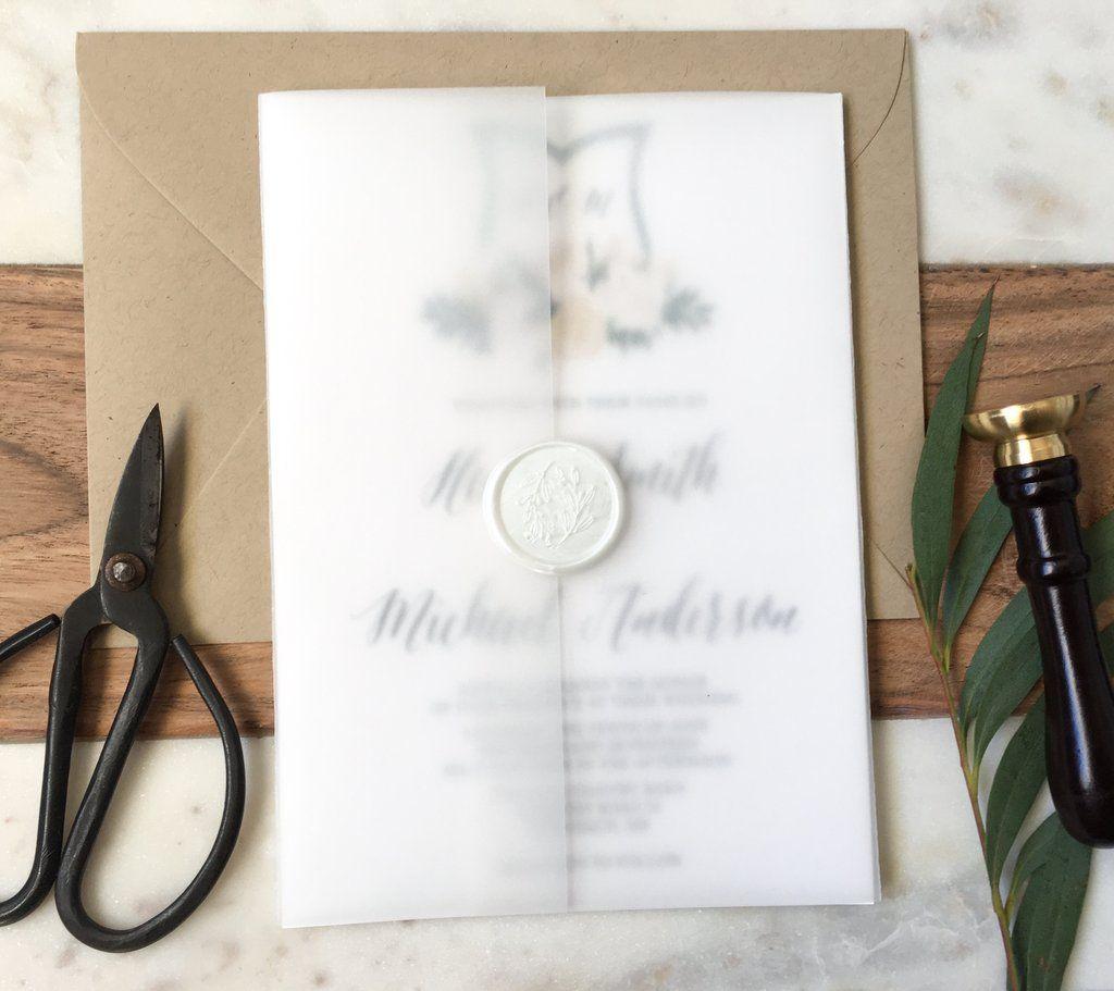 Elegant Wedding Crest and Vellum Wedding Invitation | Elegant ...