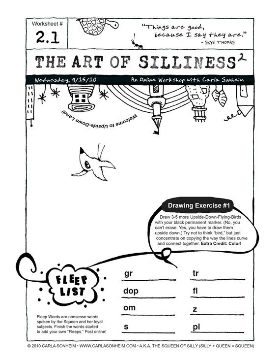 Online Class - 30 SILLY Worksheets PDF - SESSION 2 | Art ...