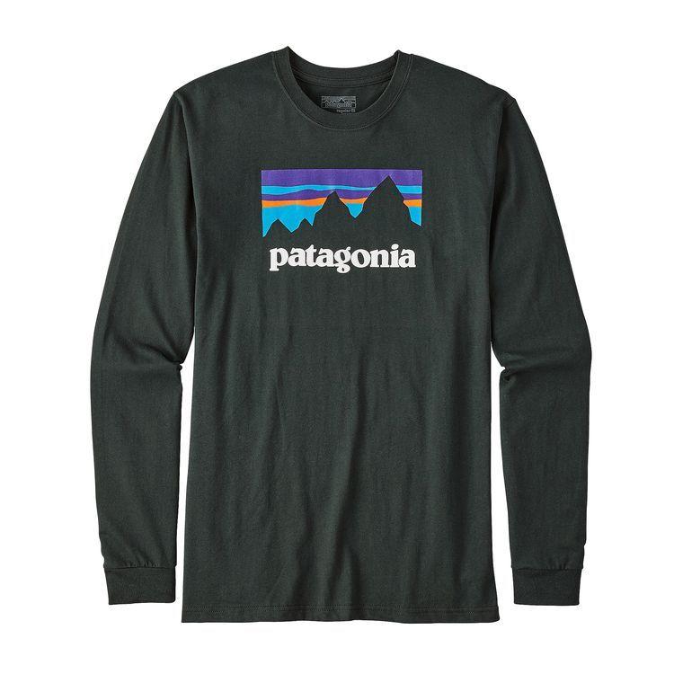 6be4a8746fbbb Patagonia Men s Long-Sleeve Shop Sticker Cotton T-Shirt Carbon XL
