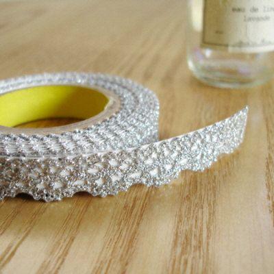 Romantic Lace Fabric Deco Tape - SILVER 0.5 inch (adhesive). $10.99, via Etsy.