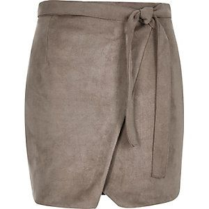 feeab97e1 Brown faux suede wrap belted mini skirt | river island wish list ...