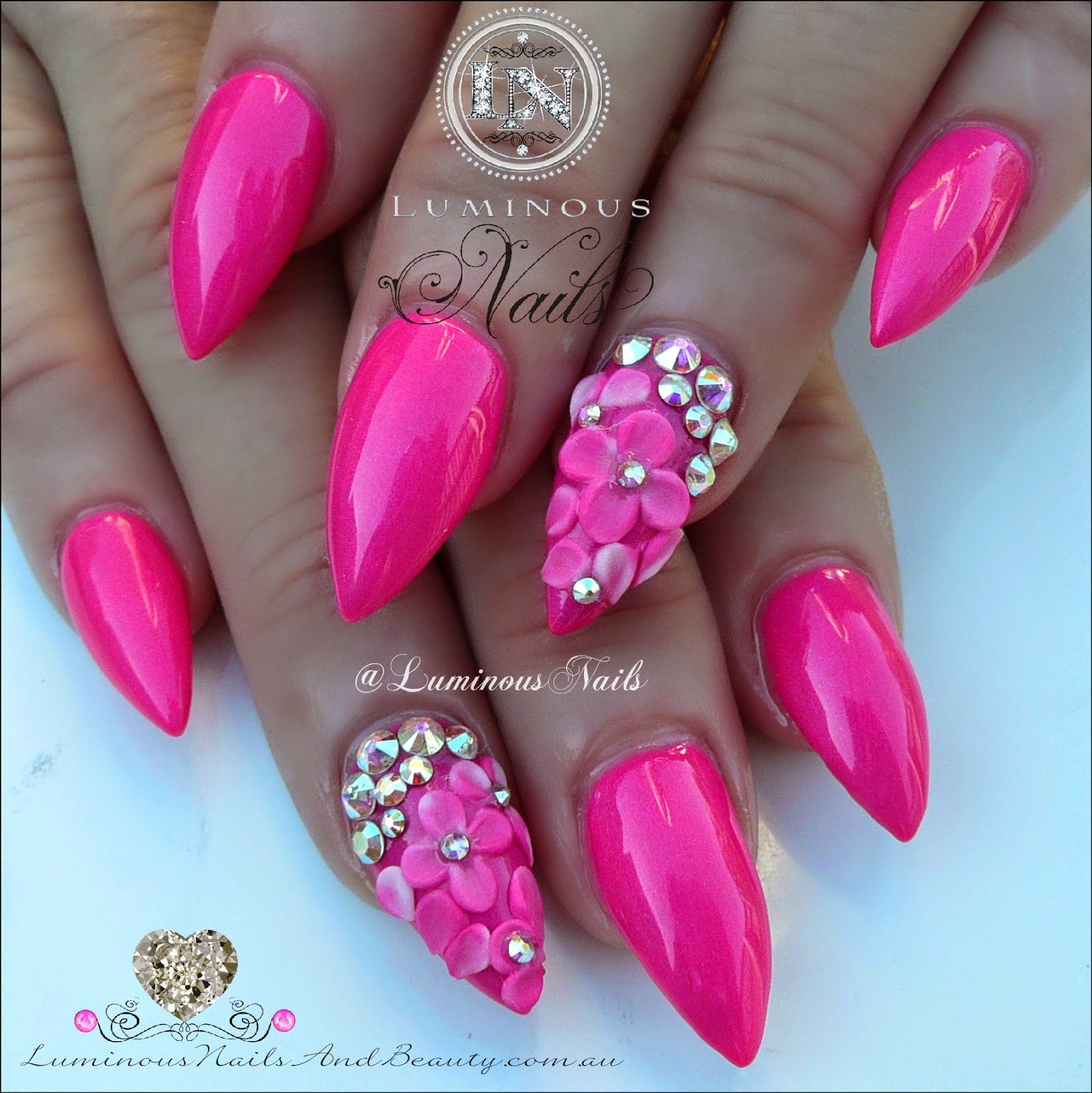 luminous nails: hot pink nails with 3d flowers & swarovski