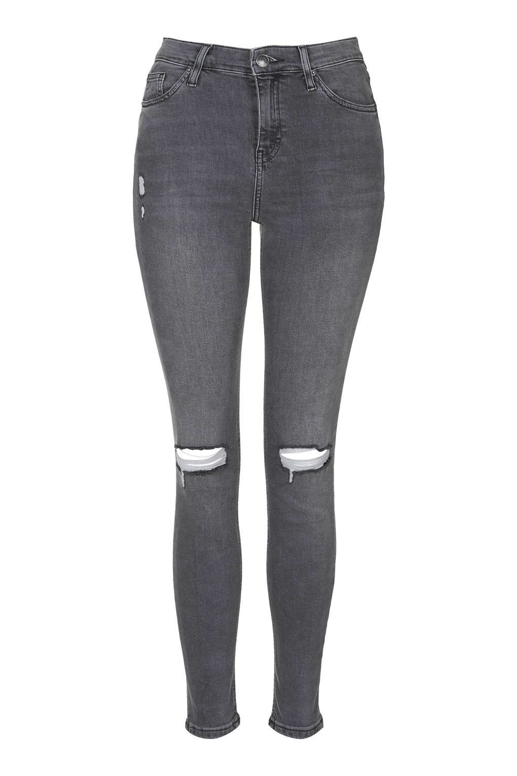 MOTO Grey Ripped Jamie Jeans - Topshop