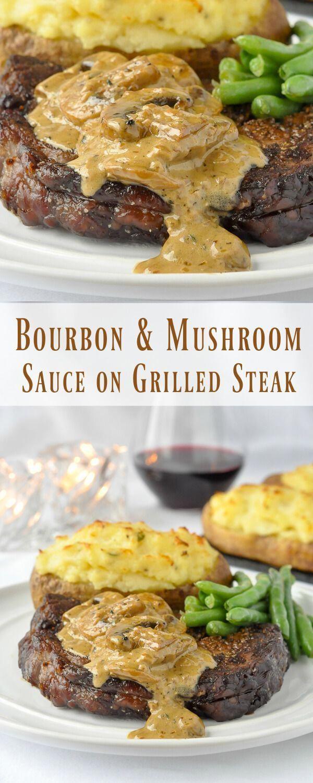 Bourbon Mushroom Sauce on Grilled Rib Eye Steak #beefsteakrecipe