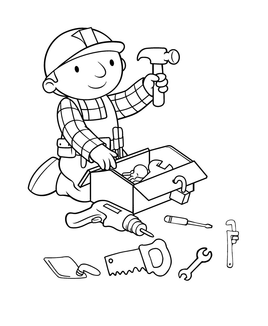 Bob The Builder Preparing Tools Coloring Page For Kids