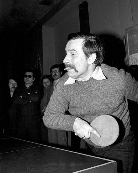 Lech Wałęsa playing table tennis. Not sure who took it. http://newzar.wordpress.com/category/lech-walesa/
