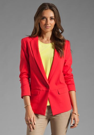 TIBI Maverick Suiting Solid Jacket in Lobster $159