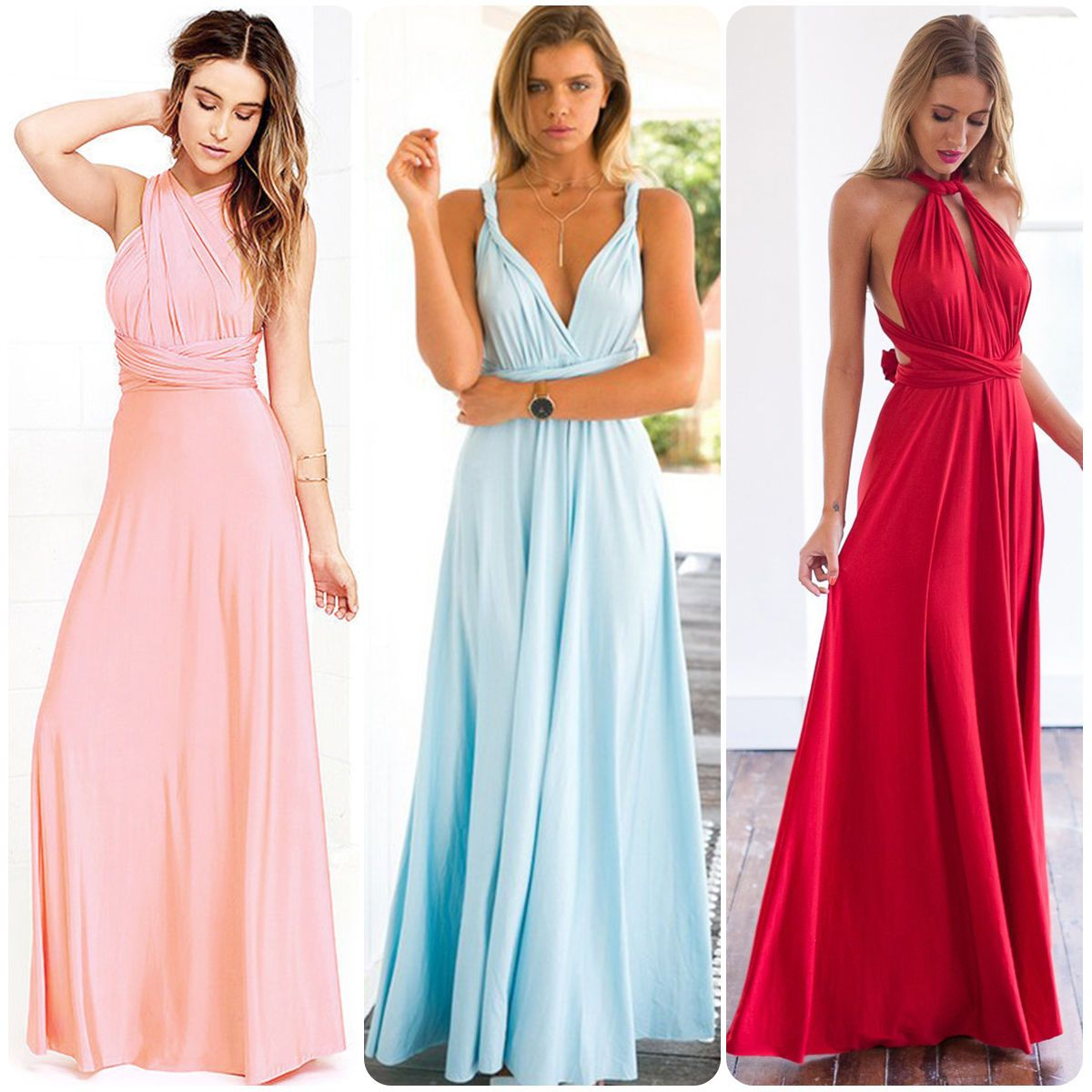 Women wrap bandage formal bridesmaid prom ball gown evening party
