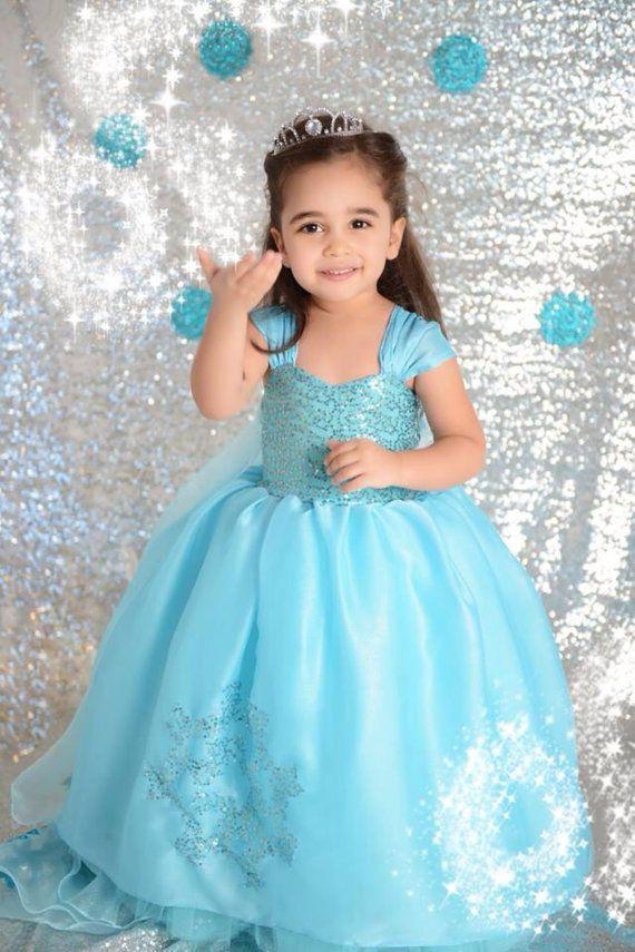 FROZEN Princess Anna Elsa Queen Girls Cosplay Costume Party Formal Dress Elsa #2