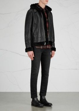 Black shearling-lined leather jacket