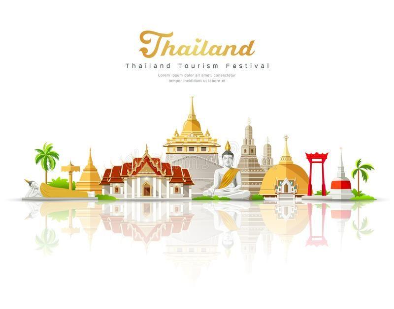 Thailand tourism festival building landmark. On shadow isolated on white backgro ,