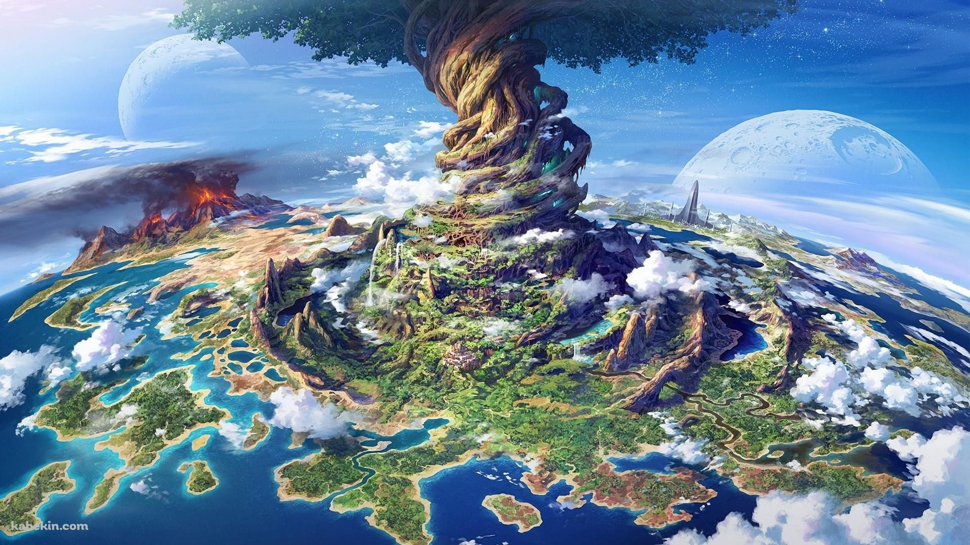 ファンタジー 海 島 火山の壁紙 世界樹の迷宮 アートのアイデア