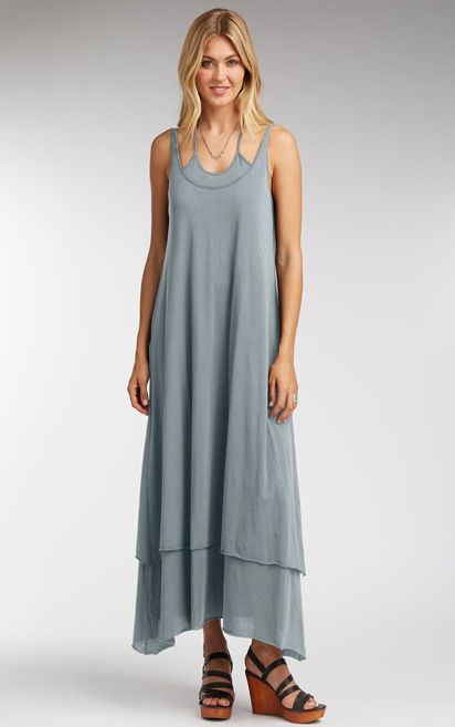 Double Layer Maxi Dress in Faded Denim by Indigenous from http://modavanti.com; love!!