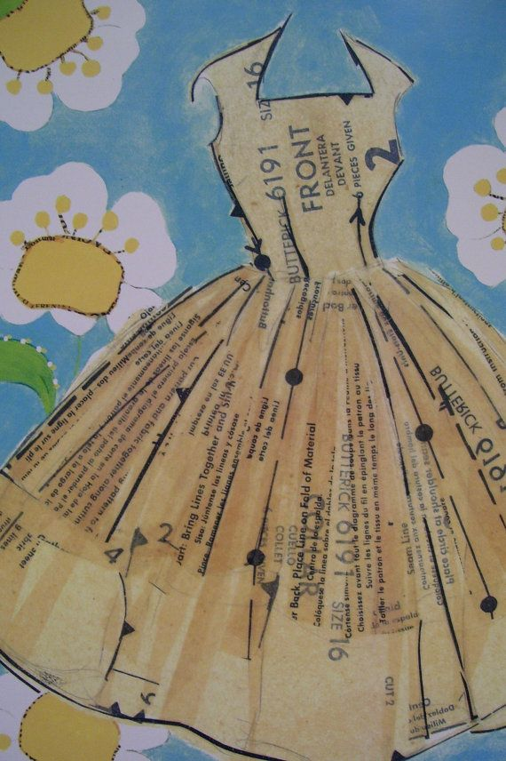 Reminds me of my mom and sister - both excellent seamstresses.  Peggy Ann dress pattern collage fine art print