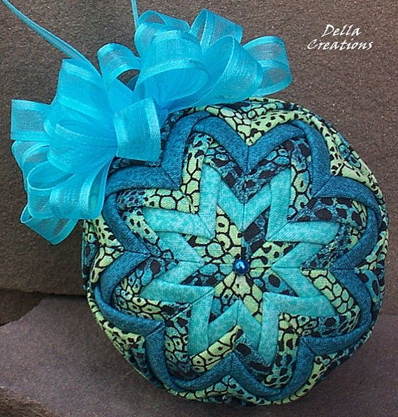 Quilted Ornament in Turquoise, Black, & Light Green Animal Print ... : quilted xmas ornaments - Adamdwight.com