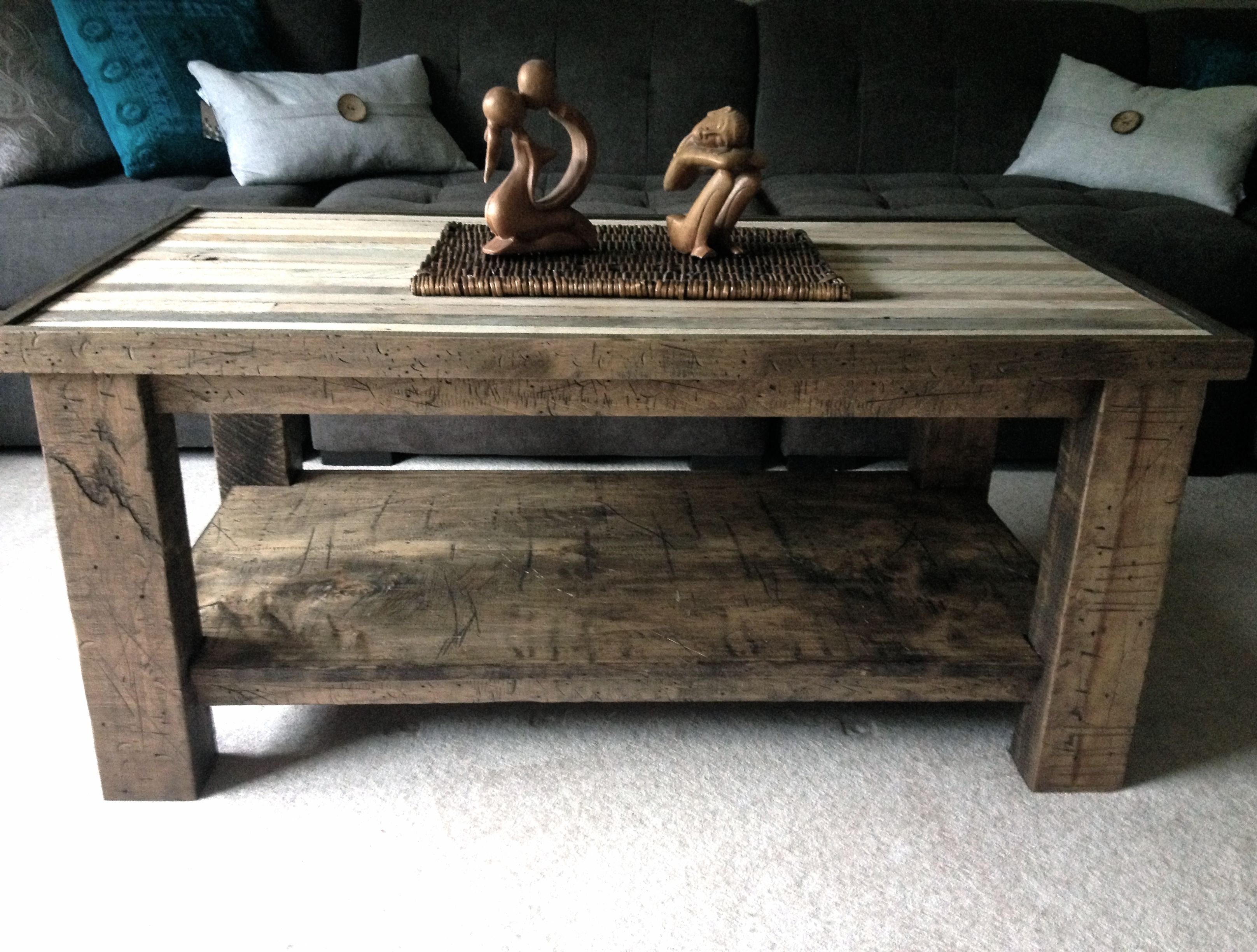 Solid Maple CoffeeTable with Reclaimed Lath top Handcrafted by