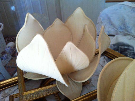 Vintage Asian Lotus Flower Lamp Shades Pair Silk Repurposed Lamp Modern Lamp Shades Contemporary Lamp Shades