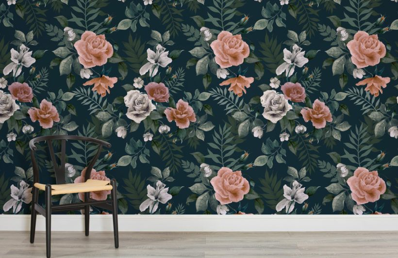 Dark Green And Pink Floral Wall Mural Green Floral