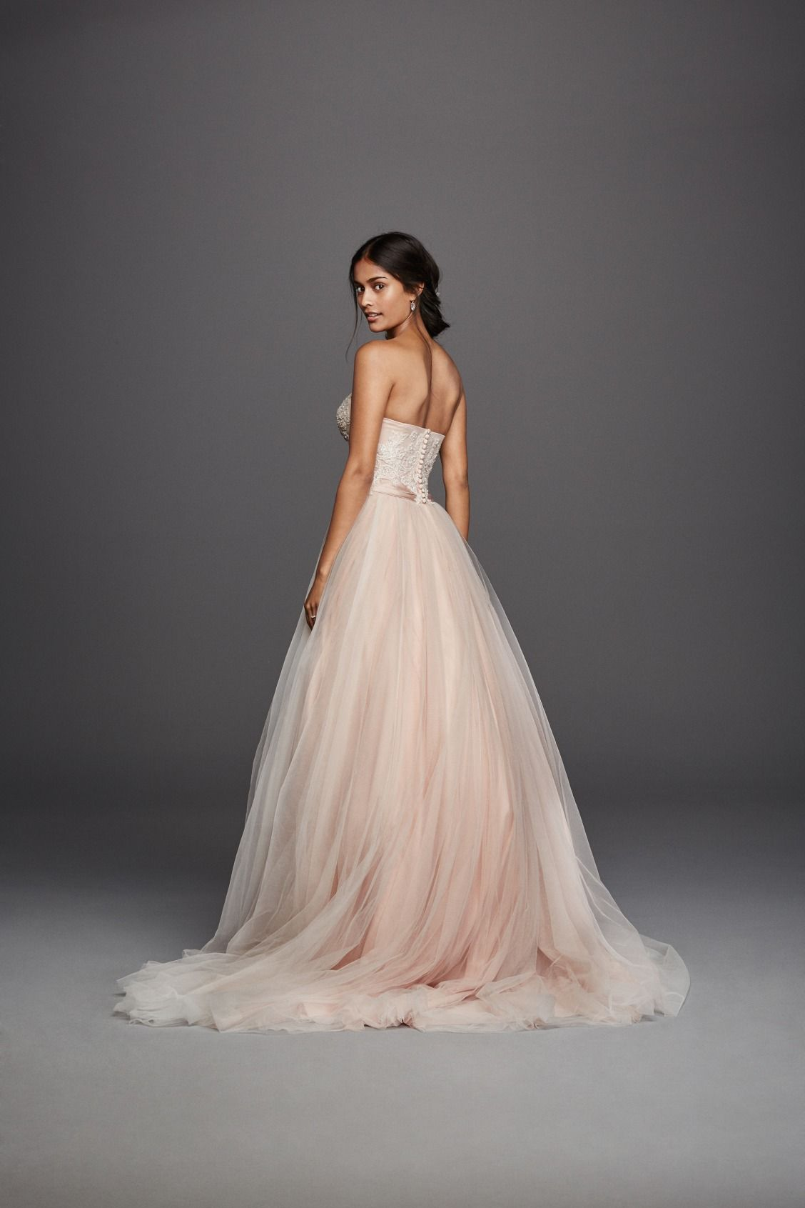 Strapless Ivory Blush Tulle Beaded Lace Ball Gown Jewel Wedding Dress Available At David S Bridal