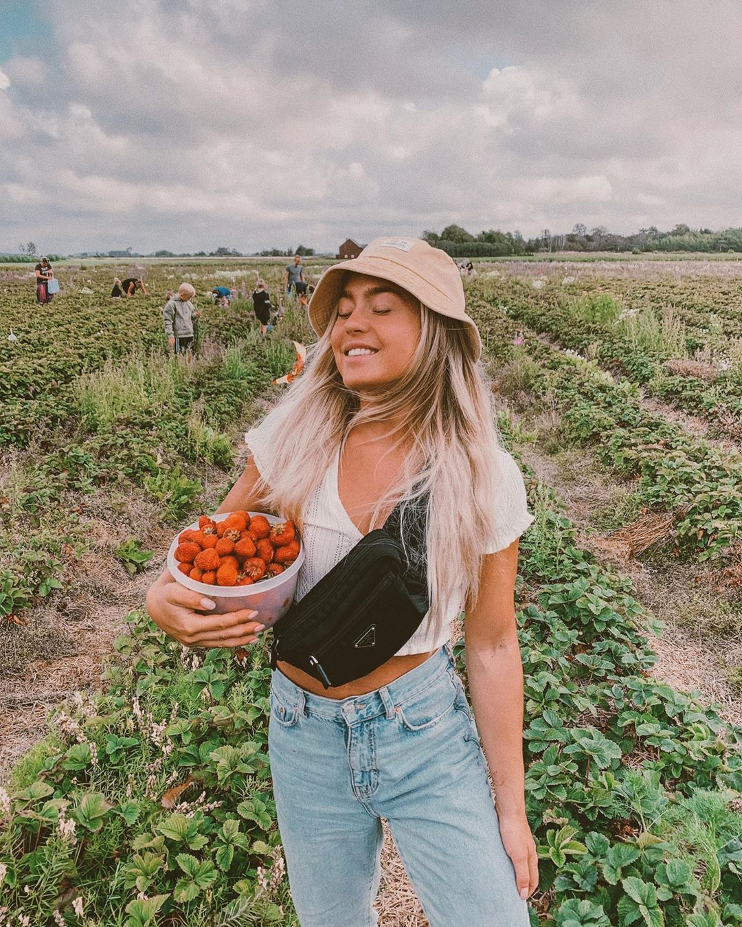 "Angelica Blick on Instagram: ""STRAWBERRY PICKING 🍓 isn't this just amazing?! We went to this cute little place in Varberg and picked our on strawberries. It all ended up…"""