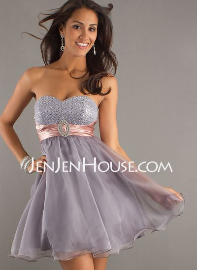 Homecoming Dresses - $129.99 - A-Line/Princess Sweetheart Short/Mini Organza  Charmeuse Homecoming Dresses With Sash (022010791) http://jenjenhouse.com/A-line-Princess-Sweetheart-Short-Mini-Organza--Charmeuse-Homecoming-Dresses-With-Sash-022010791-g10791